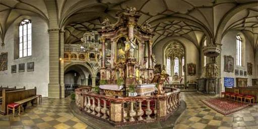 Die bekannte Wallfahrtskirche in Dettelbach als 360 Grad Panorama