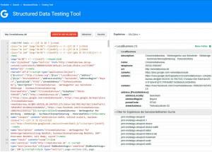 Schema Auszeichnungen testen mit dem Structured Data Testing Tool